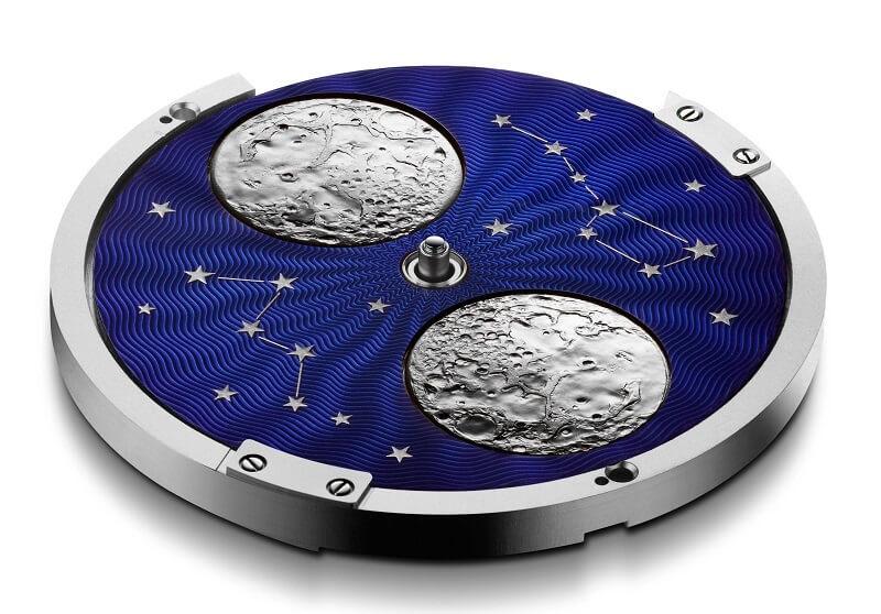 cơ cấu hoạt động lịch tuần trăng Moon phase đồng hồ Thụy Sỹ